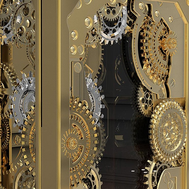 Portuguese Baron Luxury Safe in Brass with Silver Detail For Sale