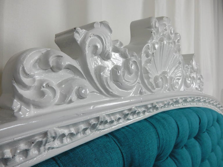 Mid-20th Century Baroque 1960s Hollywood Regency King Tufted Headboard For Sale