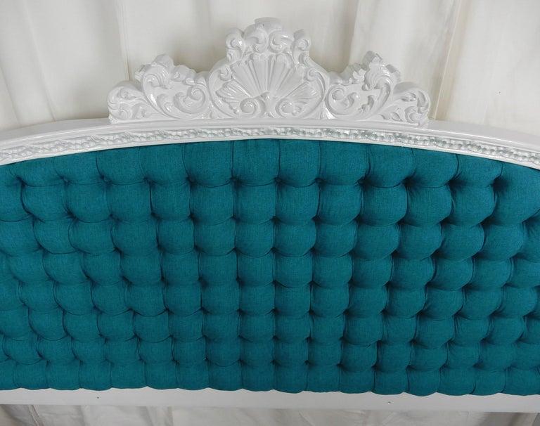 Wood Baroque 1960s Hollywood Regency King Tufted Headboard For Sale