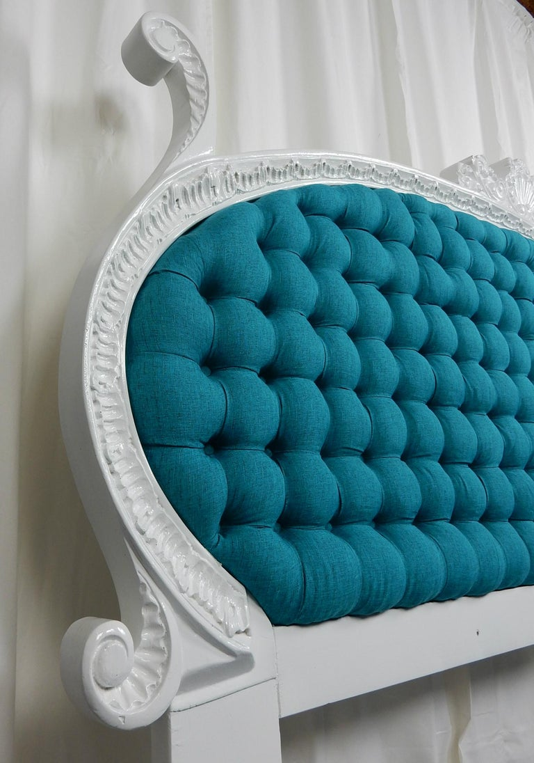 Baroque 1960s Hollywood Regency King Tufted Headboard For Sale 1