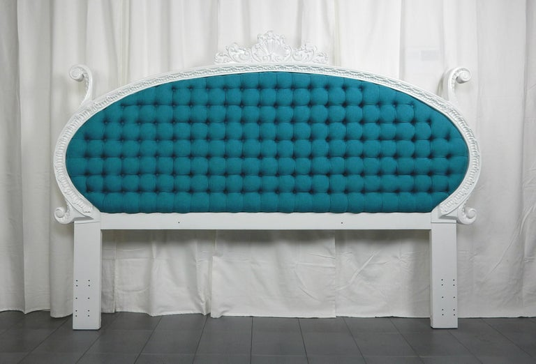 Baroque 1960s Hollywood Regency King Tufted Headboard For Sale 3