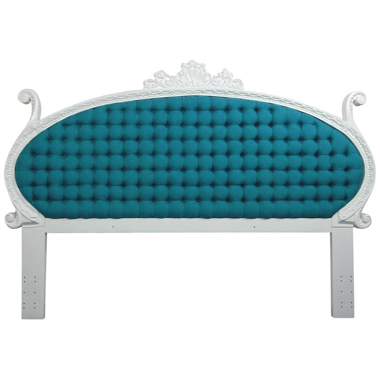 Baroque 1960s Hollywood Regency King Tufted Headboard For Sale
