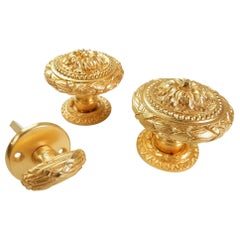 Baroque 22-Karat Plated Door Knob Set from Sherle Wagner, circa 1960s