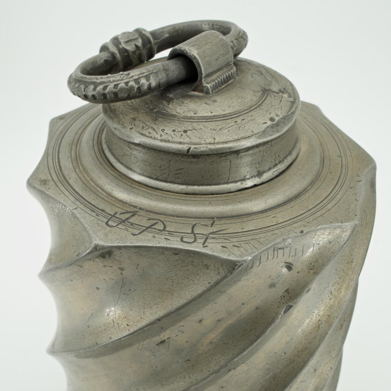 Baroque Alpine Extra Large Pewter Wine Can Flask Metalwork Decanter Flagon In Distressed Condition For Sale In Washington, DC