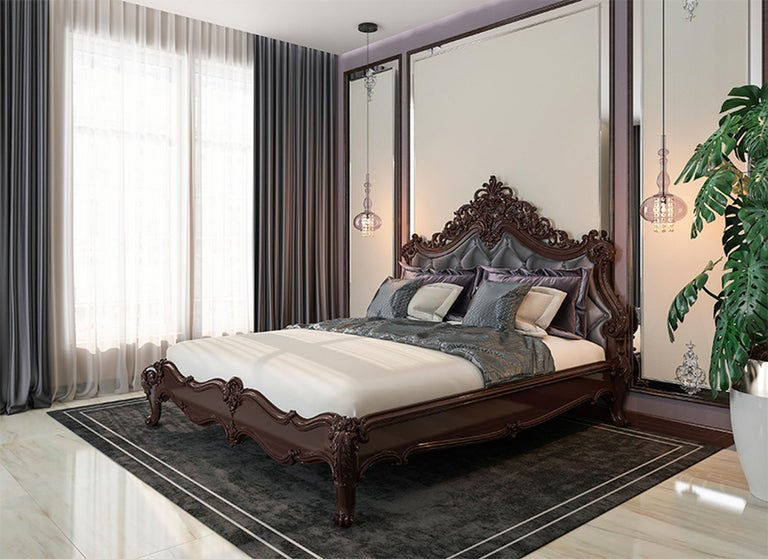 Woodwork Baroque Bed from Oak or Beech, Wood Bed Frame For Sale
