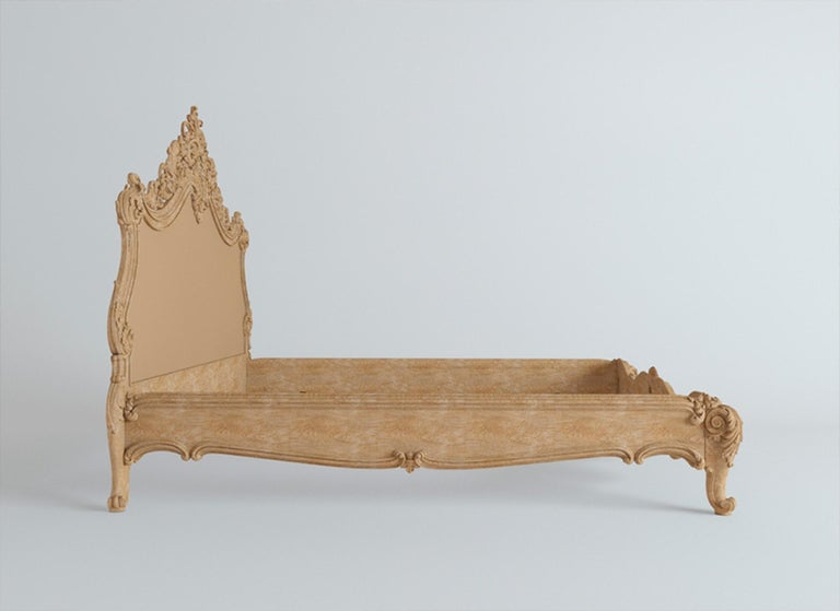 Contemporary Baroque Bed from Oak or Beech, Wood Bed Frame For Sale
