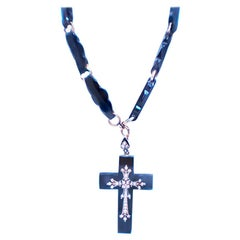 Baroque Black Onyx Cross and Necklace with Oriental Seed Pearl 14 Karat Gold