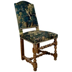 Baroque Bleached Walnut Flemish 18th Century Tapestry Side Chair, Green