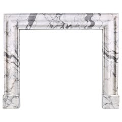 Baroque Bolection Fireplace Mantel in Italian White Statuary Marble Fireplace 3