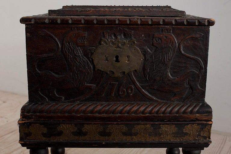Baroque Box with Interior Paint on Stand, Origin Norway, Dated 1760 For Sale 8