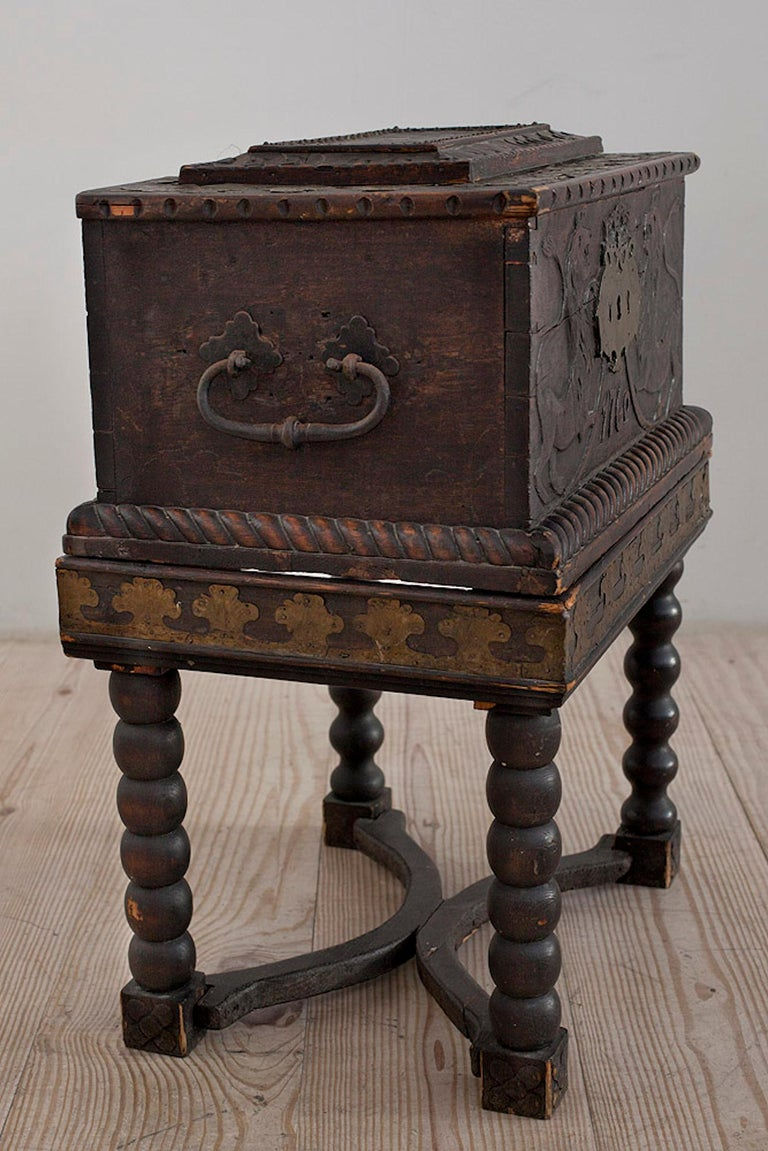 Norwegian Baroque Box with Interior Paint on Stand, Origin Norway, Dated 1760 For Sale