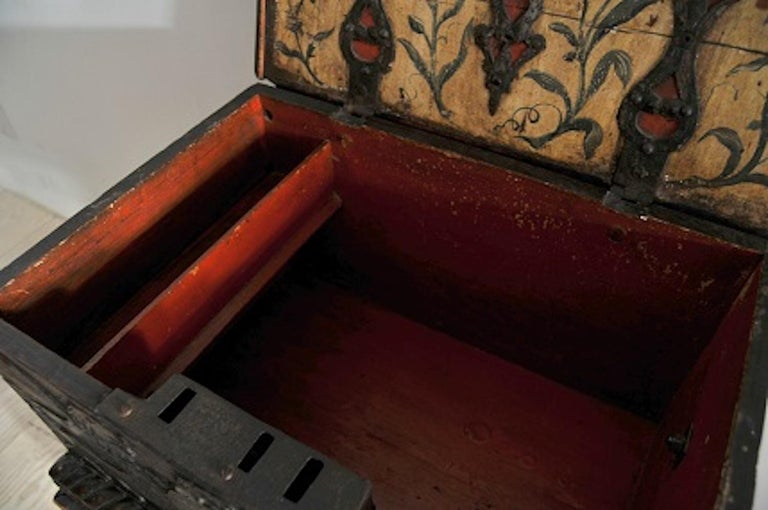 Baroque Box with Interior Paint on Stand, Origin Norway, Dated 1760 In Excellent Condition For Sale In New York, NY