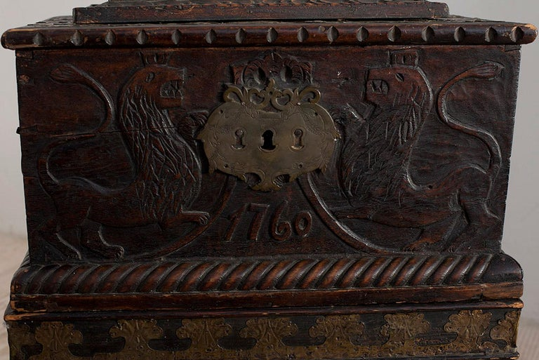 Pewter Baroque Box with Interior Paint on Stand, Origin Norway, Dated 1760 For Sale