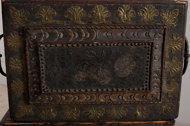 Baroque Box with Interior Paint on Stand, Origin Norway, Dated 1760 For Sale 2
