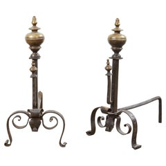 Baroque Bronze and Wrought Iron Andirons