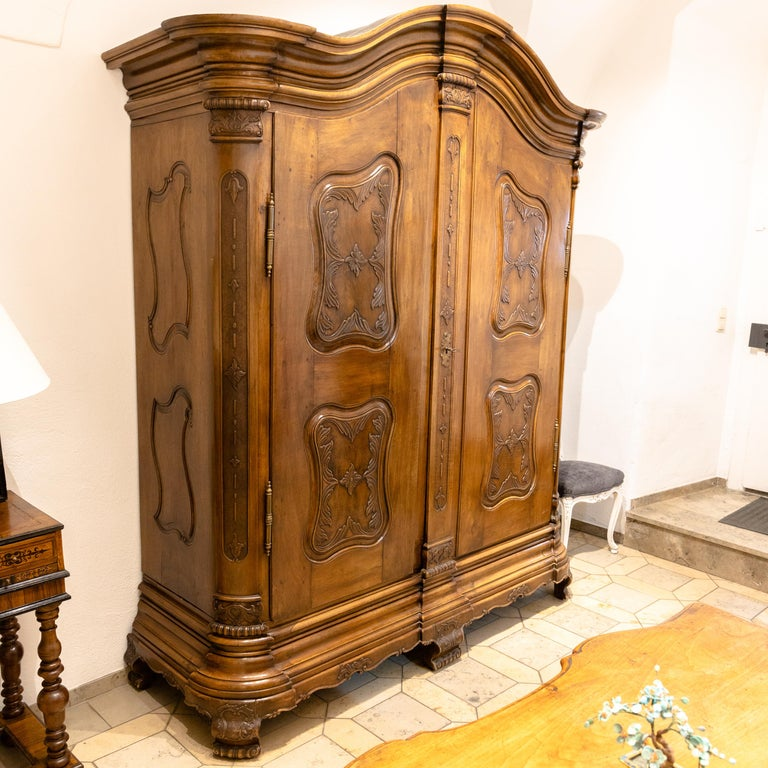 Baroque Cabinet, Solid Walnut, Central Germany, Dated 1776 For Sale 6