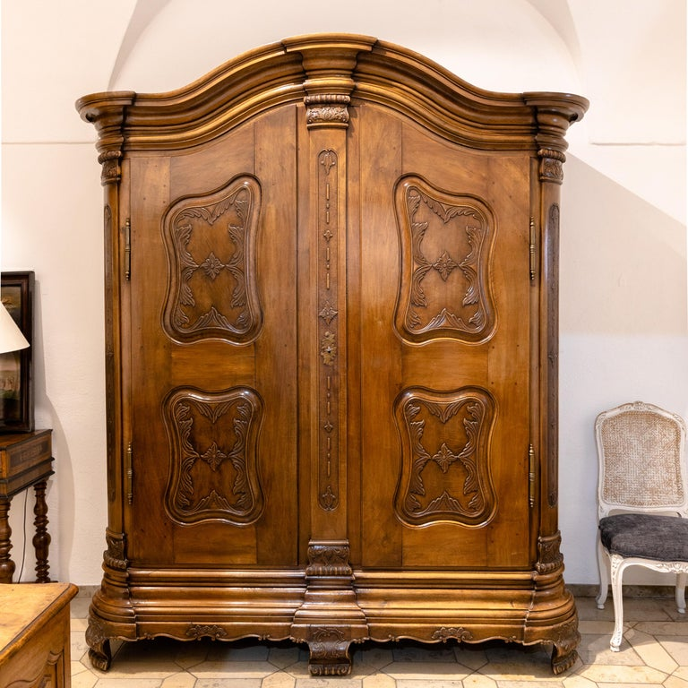 Large Baroque cabinet with a curved, multi-profiled cornice with cranked, rounded corners and two doors. Four softly shaped panels with vine decorations in relief divide the doors, as well as two asymmetrical panels on each side. The rounded