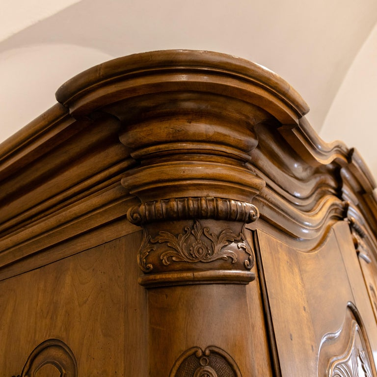 Baroque Cabinet, Solid Walnut, Central Germany, Dated 1776 For Sale 1