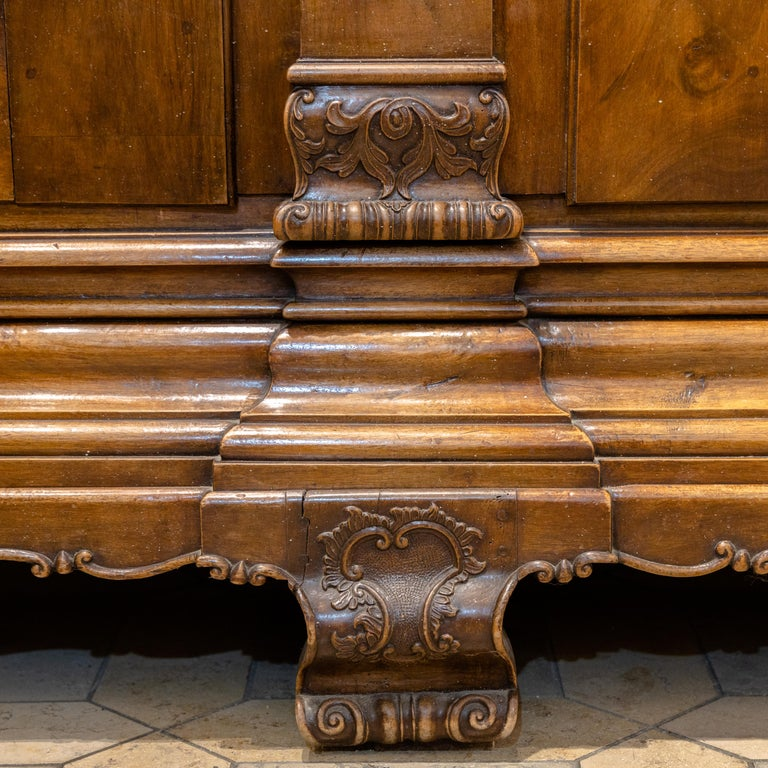 Baroque Cabinet, Solid Walnut, Central Germany, Dated 1776 For Sale 3