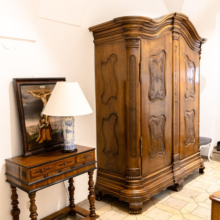Baroque Cabinet, Solid Walnut, Central Germany, Dated 1776 For Sale 4
