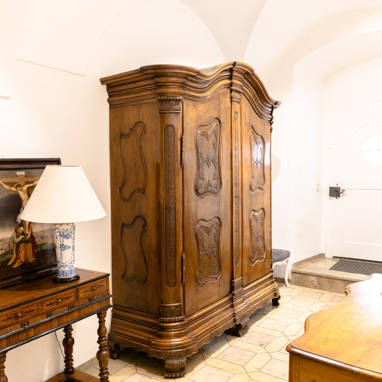Baroque Cabinet, Solid Walnut, Central Germany, Dated 1776 For Sale 5