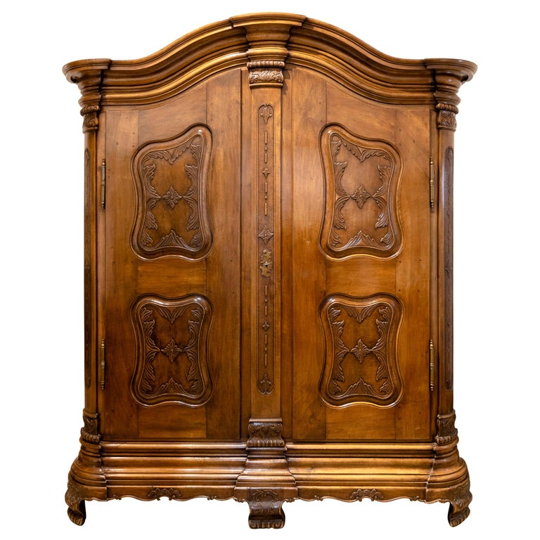 Baroque Cabinet, Solid Walnut, Central Germany, Dated 1776 For Sale