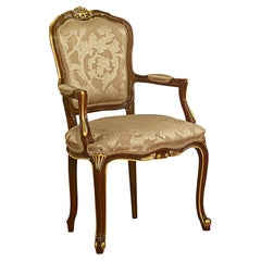 Baroque Chair with Armrest in Natural Wood Walnut and Gold Leaf Finish