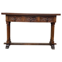 Baroque Console Table in Walnut with Three Carved Drawers and Stretcher