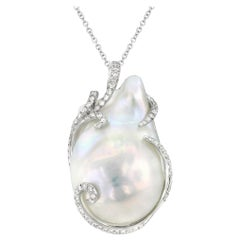 Baroque Cultured Freshwater Pearl Diamond and White Gold Pendant