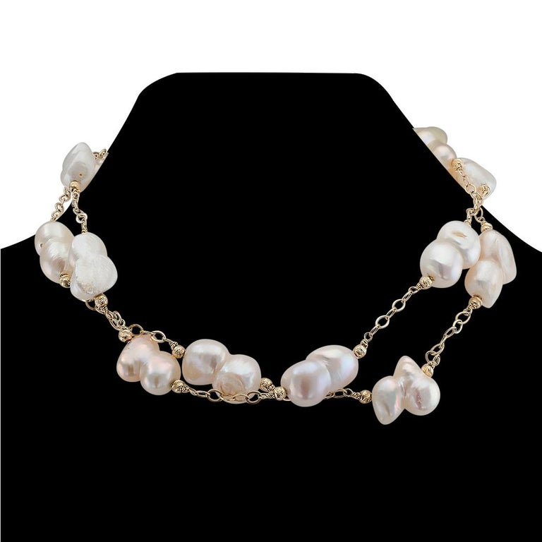 Contemporary Baroque Cultured Freshwater Pearl Gold Long Necklace