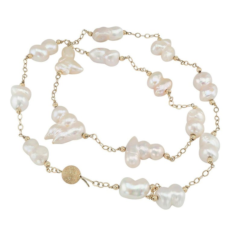 Uncut Baroque Cultured Freshwater Pearl Gold Long Necklace