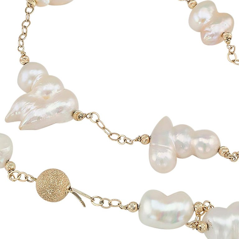 Baroque Cultured Freshwater Pearl Gold Long Necklace In Good Condition In Los Angeles, CA