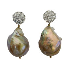 Baroque Cultured Pearls Cubic Zirconia 925 Sterling Silver Earrings