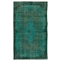 Baroque Design Rug Over-Dyed in Teal Color, Handmade Carpet