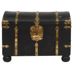 Baroque Embossed Black Leather Chest