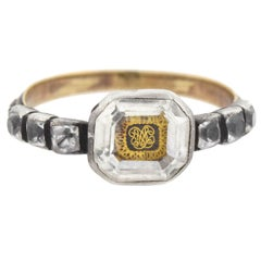 Baroque Era Stuart Crystal Cypher and Braided Hair Ring
