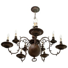 Baroque Five-Armed Italian Bronze Chandelier, 1700s
