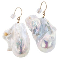 Baroque Fresh Water Cultured Pearl Gold Drop Earrings