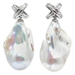 Baroque Fresh Water Pearl Earrings 14k Gold Certified
