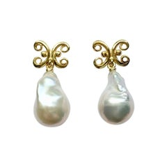 Baroque Freshwater Pearl 18 Carat Yellow Gold Earrings