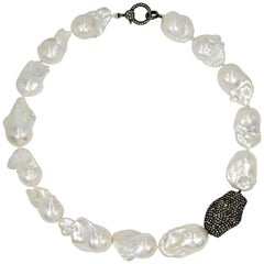 Baroque Freshwater Pearl and Pavé Diamond Beaded Collar Necklace