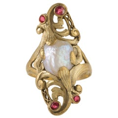 Baroque Freshwater Pearl and Ruby Ring