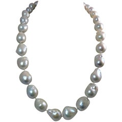 Baroque Freshwater South Sea Pearl Necklace With 14K White Gold Diamond Clasp