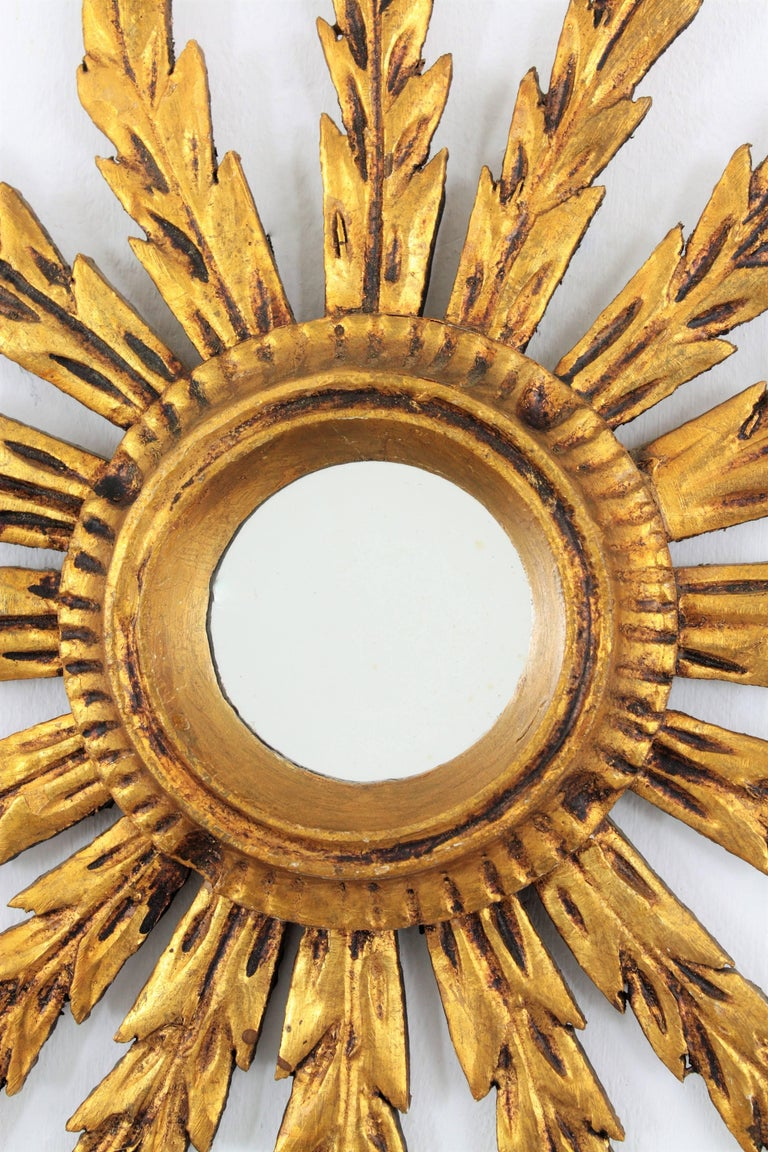 Baroque giltwood carved small sunburst mirror spain for Small baroque mirror