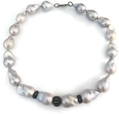 Baroque Gray Fresh Water Pearls Blackened Sterling Silver and Diamond Findings