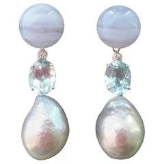 Baroque Grey Pearls Chalcedony Blue Topaz Gold Diamonds Dangle Earrings