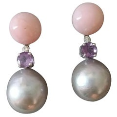 Baroque Grey Pearls Pink Opal Amethyst Diamonds White Gold Dangle Earrings