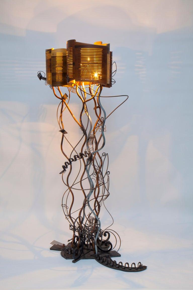 Baroque Grunge floor lamp, 2013, bent poplar plywood (shade), conduit, copper pipe, steel.