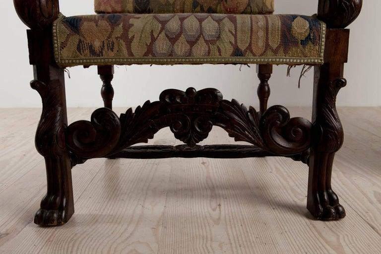 Baroque Historic Revival Armchairs, Origin Sweden, circa 1890 For Sale 2