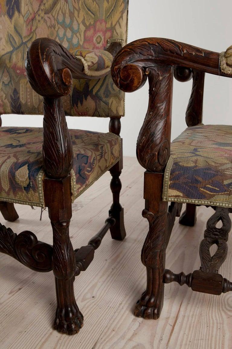 Baroque Historic Revival Armchairs, Origin Sweden, circa 1890 For Sale 4
